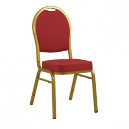 CGA-CD02-IF3  Chaise de conférence empilable structure dore tissu rouge mouchete