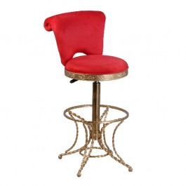 CHJ-B78-R Chaise haute de bar pivotant baroque couleur rouge