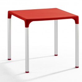 TIS-5002-RO Table de terrasse en polypropylène rouge
