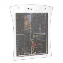 03182 Porte-menu mural 4 pages blanc