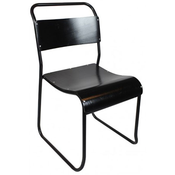 chaise de structure metal et bois couleur noir cbr 105 one mobilier. Black Bedroom Furniture Sets. Home Design Ideas