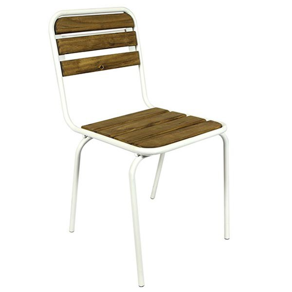 Chaise type ecolier en bois teinte en metal couleur blanc for Chaise metal couleur