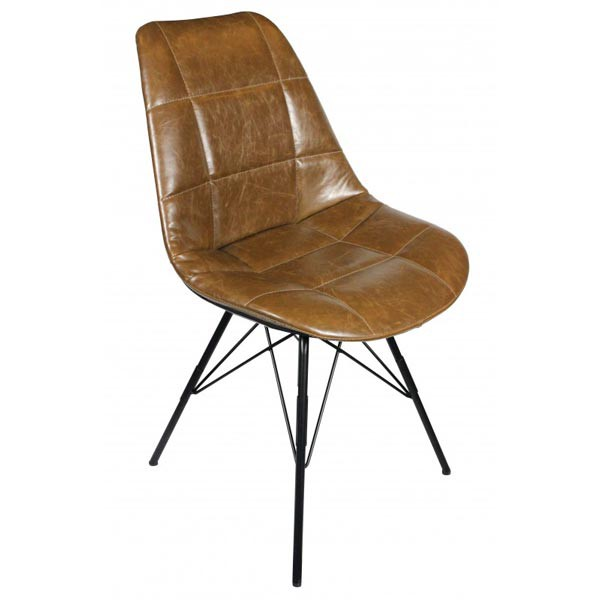Chaise industrielle assise dossier aspect cuir gaufre for Chaise industrielle