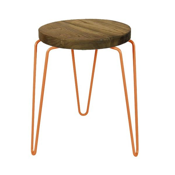 tabouret bas rond en bois orme structure metal cuivre cbr 304 one mobilier. Black Bedroom Furniture Sets. Home Design Ideas