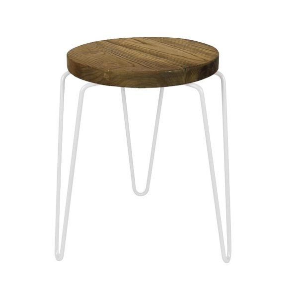 tabouret bas rond en bois orme structure metal blanc cbr 326 one mobilier. Black Bedroom Furniture Sets. Home Design Ideas