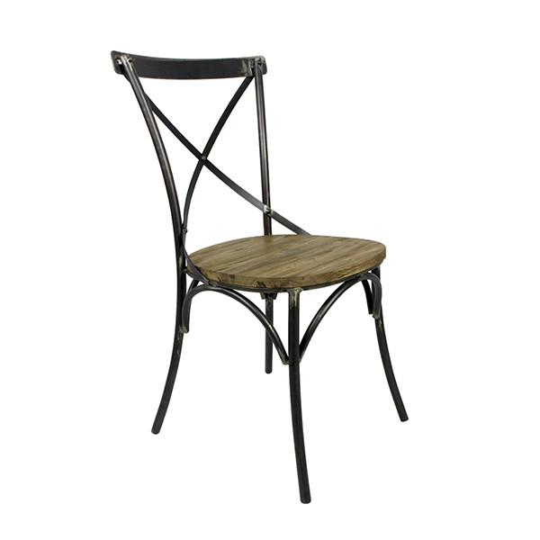 chaise bistrot en metal avec assise en orme massif cbr 423 one mobilier. Black Bedroom Furniture Sets. Home Design Ideas