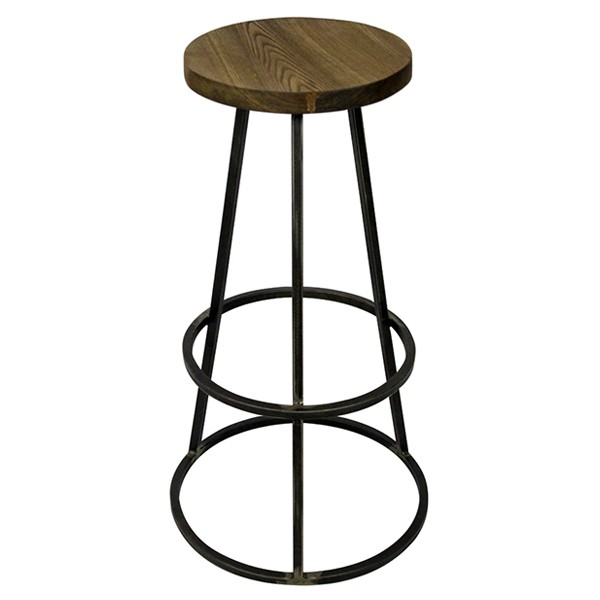 tabouret de bar haut assise ronde en bois empilable en metal naturel cbr 425 one mobilier. Black Bedroom Furniture Sets. Home Design Ideas