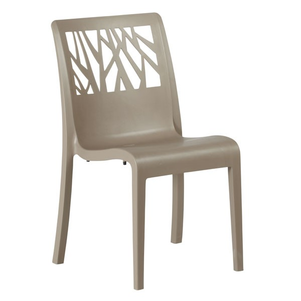 Chaise monobloc en polypropylene couleur taupe cpl 49185181 one mobilier - Chaise couleur taupe ...