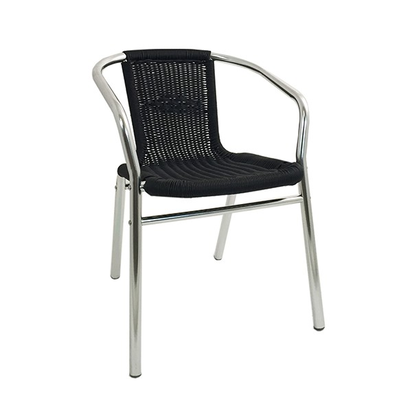 fauteuil de terrasse aluminium et tressage noir cra 27e n one mobilier. Black Bedroom Furniture Sets. Home Design Ideas