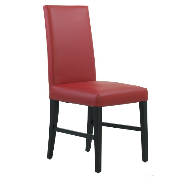 chaise restaurant dossier haut en simili rouge czh 001 r one mobilier. Black Bedroom Furniture Sets. Home Design Ideas