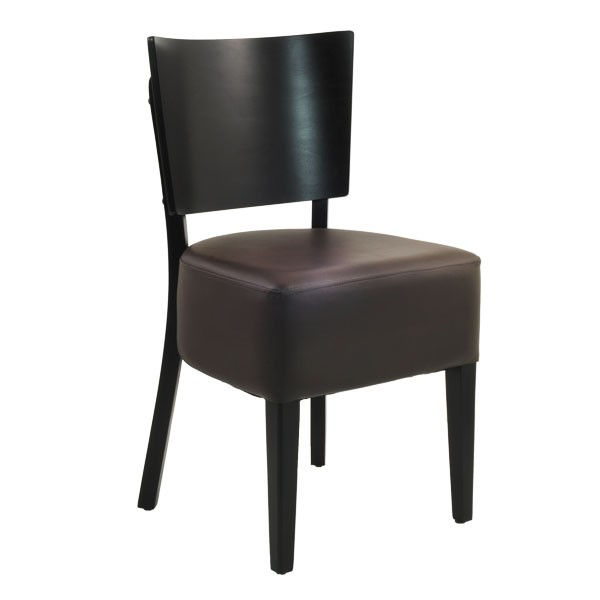 chaise de bistrot avec dossier en bois et assise rembourree couleur marron czh 308 m one mobilier. Black Bedroom Furniture Sets. Home Design Ideas