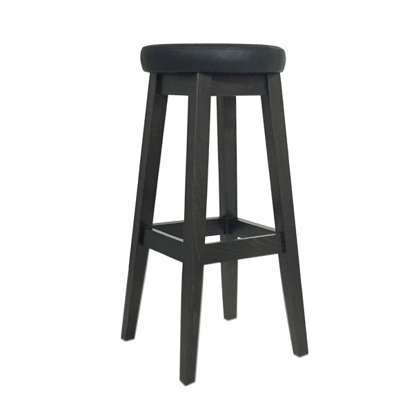tabouret de bar tapiss assise ronde noir czh x129r n one mobilier. Black Bedroom Furniture Sets. Home Design Ideas