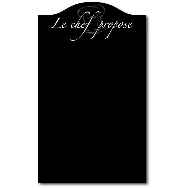 panneau ardoise mural motif le chef propose toque 70x50. Black Bedroom Furniture Sets. Home Design Ideas