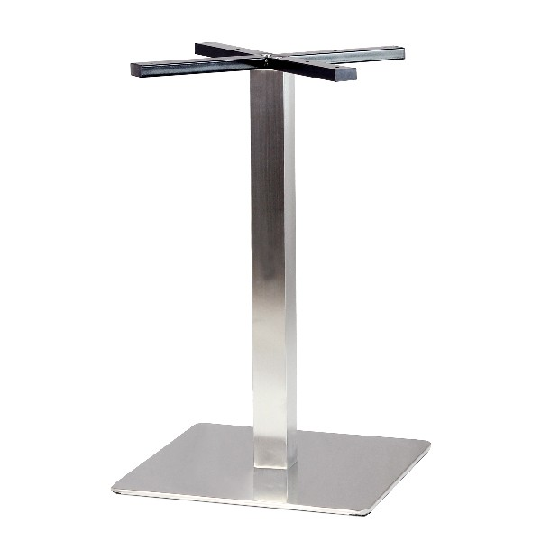 Pied de table en inox brosse base carree angle arrondi pch - Pied de table central inox ...