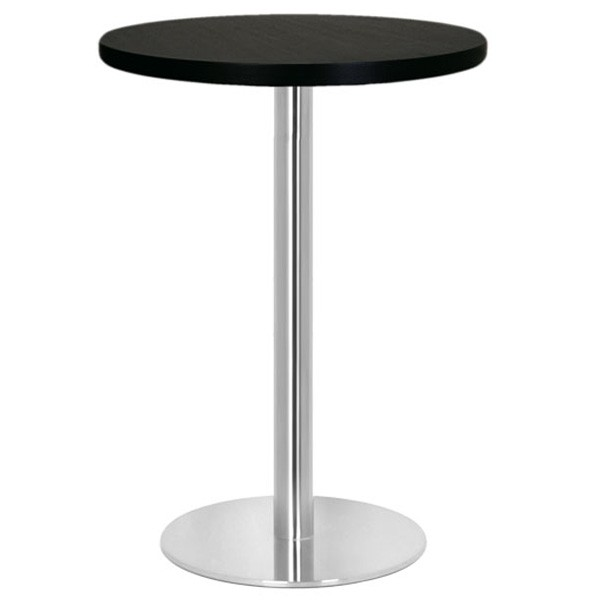 table haute mange debout base ronde en inox bross avec. Black Bedroom Furniture Sets. Home Design Ideas