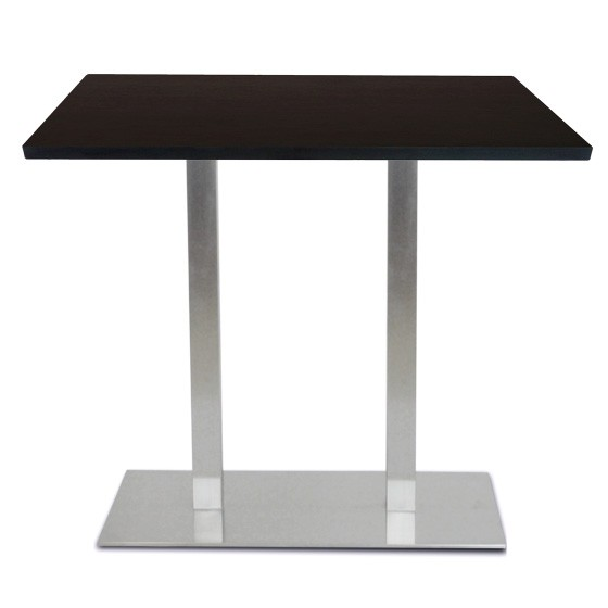 Table mange debout base ultra plat en inox bross avec - Table mange debout rectangulaire ...
