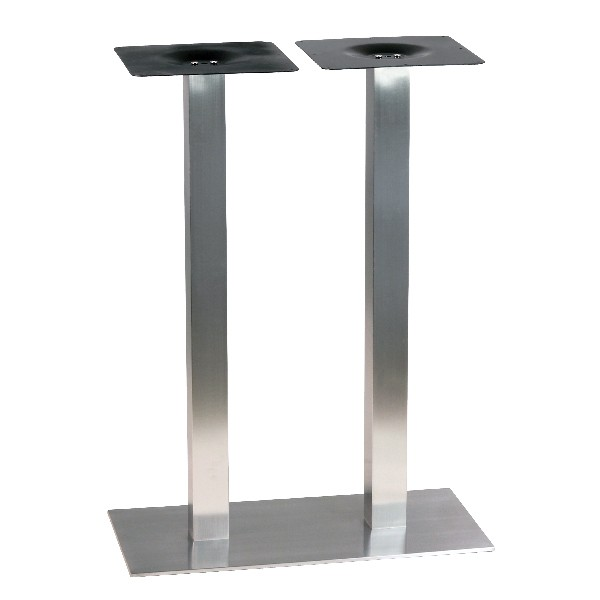 Pi tement de table haute en inox bross ultra plat pour 4 for Table titanium quadra 6 personnes