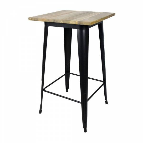 table 60x60 cm hauteur 105 cm avec plateau en orme massif structure metal noir tbr 579 one. Black Bedroom Furniture Sets. Home Design Ideas