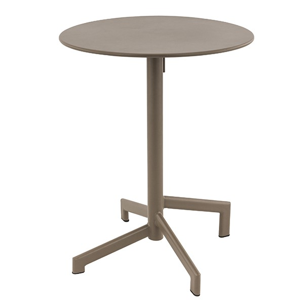 table ronde diametre 60 cm en acier pliante et encastrable couleur taupe trm 01r t one mobilier. Black Bedroom Furniture Sets. Home Design Ideas