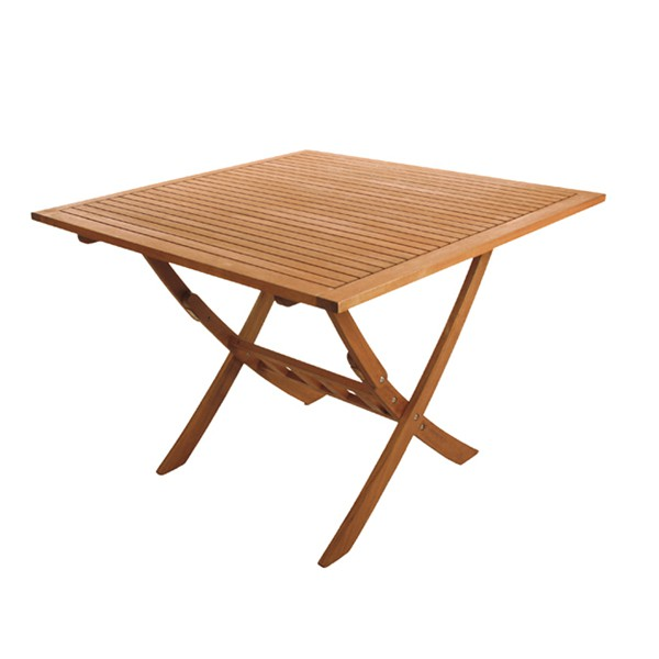 Table pliante 80x80 cm en bois exotique couleur teck trz for Table pliante en teck
