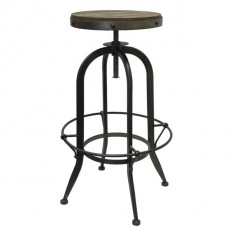 CBR-109 Tabouret de bar en metal naturel avec assise ronde en orme massif