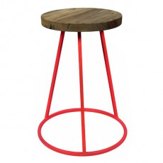 CBR-115 Tabouret fixe bas assise ronde empilable en metal rouge