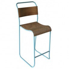 CBR-198 Chaise haute de bar bois multipli structure metal bleu