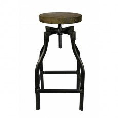 CBR-361 Tabouret de bar en metal naturel avec assise ronde en orme massif
