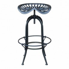 CBR-418 Tabouret haut reglable assise en fonte metal naturel