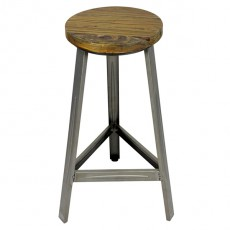 CBR-424 Tabouret de bar haut empilable en bois metal structure naturel