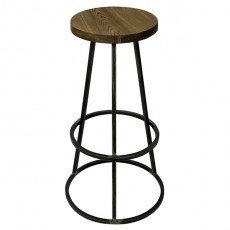CBR-425 Tabouret de bar haut assise ronde en bois empilable en metal naturel