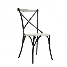 CBR-430 Chaise bistrot avec assise en metal patine