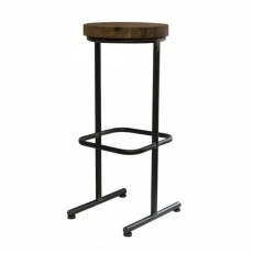 CBR-480 Tabouret de bar industriel assise ronde en bois metal structure naturel