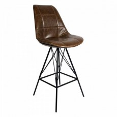 CBR-524 Chaise haute de bar industrielle assise dossier aspect cuir gaufre marron