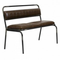 CBR-705  Banquette 110cm type industrielle en metal assise simili cuir marron gaufre