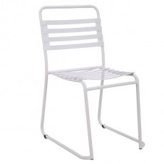 CBR-723 Chaise outdoor a lattes en metal blanc