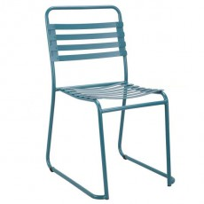 CBR-724 Chaise outdoor a lattes en metal bleu