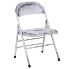 CBR-726 Chaise pliante antique en metal blanc