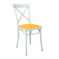 CMG-15322R Chaise bistrot en metal avec assise tapissee