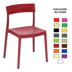 CPG-772 Chaise empilable en polypro injection par gaz couleur au choix
