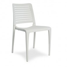 CPZ-P091-BL Chaise contemporaine empilable en polypropylène couleur blanc