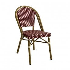 CRO-1012A-RI Chaise bistrot alu tressage nylon rouge/ivoire