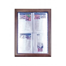 SMCS4A4WLDB Porte-menu mural LED 4 pages A4 format portrait 70x53 cm marron foncé