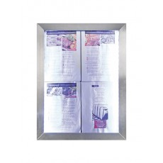 SMCS4A4WLSS Porte-menu mural LED 4 pages A4 format portrait 70x53 cm