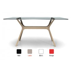 TRL-V  Table rectangulaire en verre pied design