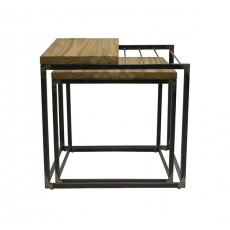 TBR-631 Set de 2 tables basses carrees en metal naturel et plateau en bois orme massif