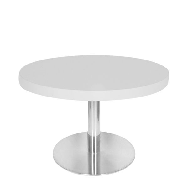 Table basse plateau m lamin blanc pied inox bross t18 50h48r blanc one mo - Table basse pied central ...