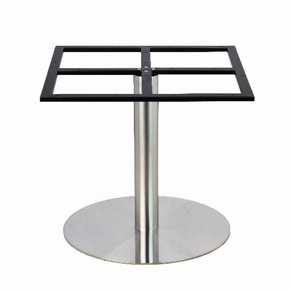 Pied de table en inox bross pour plateau rond de grande for Table un pied