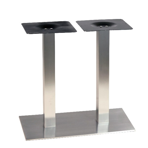 Pied de table pour table de 4 personnes en inox bross - Pied de table central inox ...