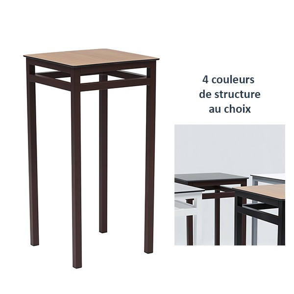 table haute mange debout 4 pieds couleur structure et plateau compact au choix trz md142 one. Black Bedroom Furniture Sets. Home Design Ideas